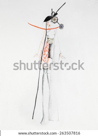 fashion design sketch with japanese model - stock photo