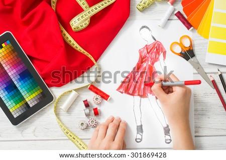 Fashion Designer Working Studio Close Design Stock Photo