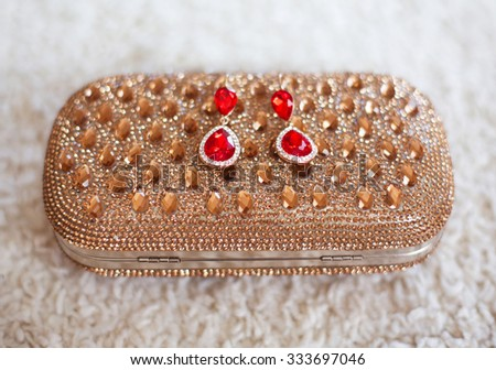 fashion earrings style red jewels with diamonds on golden purse with strass and gems.  - stock photo