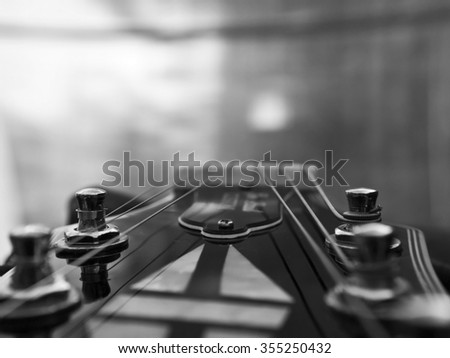 Fashion Electric Les Paul Guitar on Genuine Leather close-up   - stock photo