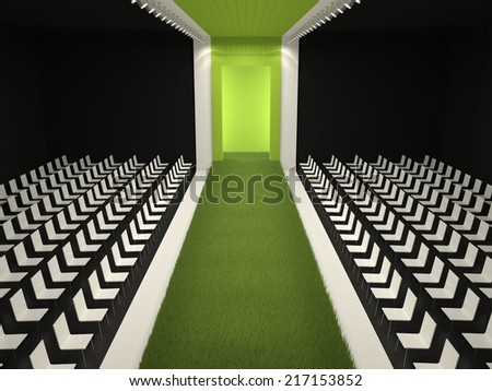 Fashion empty runway with a carpet of grass - stock photo