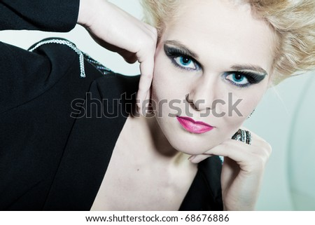 Fashion face and hands with a ring - stock photo