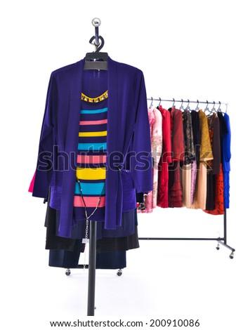 fashion female colorful clothing on display  - stock photo