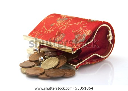 fashion female purse with eurocents isolated on white - stock photo