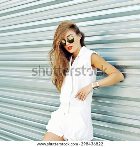 Fashion girl in sunglasses - stock photo