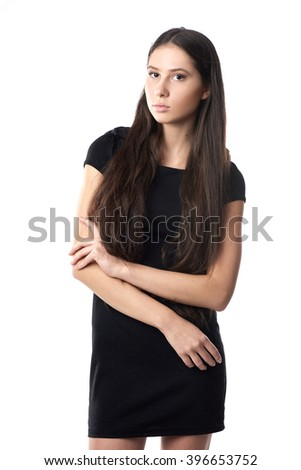 Fashion girl model posing on white background in the studio