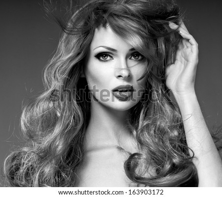 Fashion Girl Portrait. long  Hair