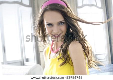 Fashion girl posing in the studio - portrait - stock photo