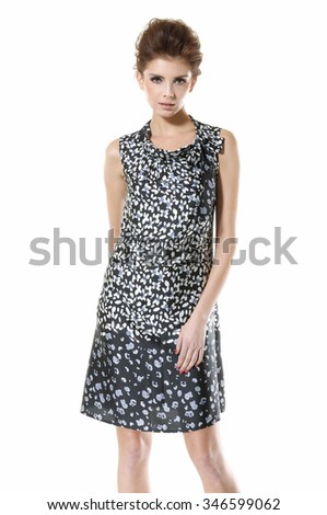 fashion girl posing on white background - stock photo