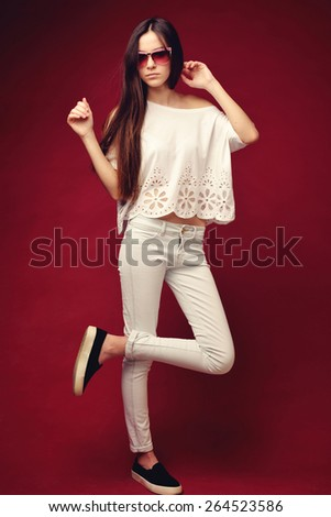 fashion girl teenager with glasses - stock photo