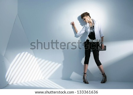 Fashion girl with purse posing in light background - stock photo
