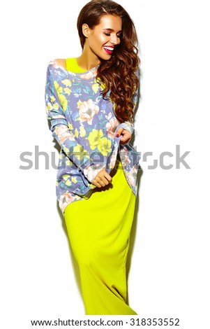 fashion glamor stylish beautiful  funny crazy young woman model with red lips in summer bright colorful hipster  yellow dress - stock photo