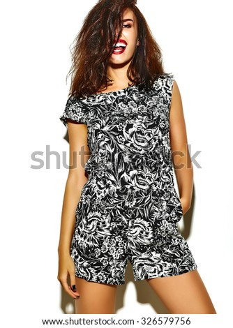 fashion glamor stylish beautiful funny crazy young woman model with red lips in summer bright colorful hipster clothes isolated on white - stock photo