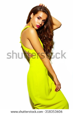 fashion glamor stylish beautiful  young woman model with red lips in summer bright colorful   yellow dress isolated on white - stock photo