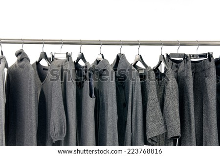 Fashion gray female clothes rack display  - stock photo