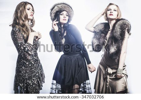 Fashion Group of beautiful young women.
