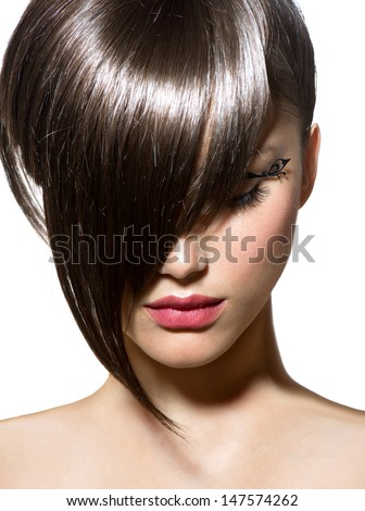 Fashion Haircut. Hairstyle. Stylish Fringe. Short Hair Style - stock photo