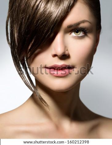 Fashion Haircut Hairstyle Stylish Fringe Teenage Stock Photo ...