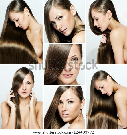 fashion hairstyle collage , natural long shiny healthy hair - stock photo