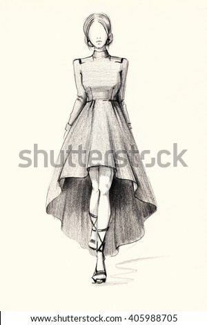 Fashion illustration of a stylish image sketch dress pencil drawing graphic arts