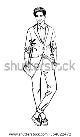 Fashion illustration of man. Hand drawn ink outline sketch isolated on white. Clip art