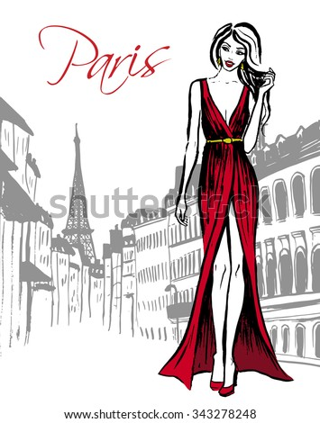 Fashion Illustration Woman Red Evening Dress Stock