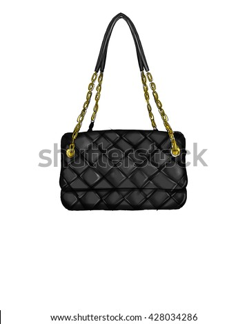Fashion Illustration with quilt black handbag