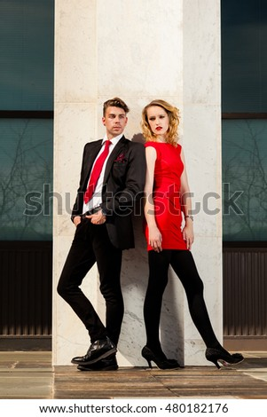 Fashion image of a male and female model
