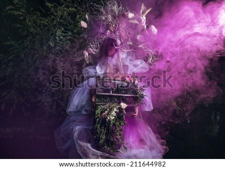 Fashion image of sensual girl in bright fantasy stylization. Outdoor fairy tale art photo. - stock photo