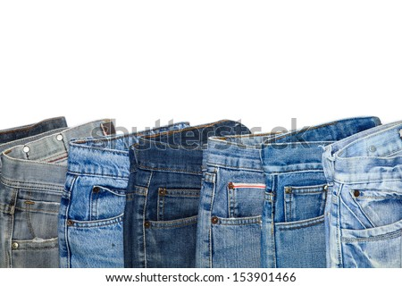 Fashion jeans on white background. - stock photo