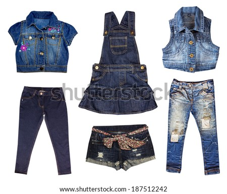 Fashion kid girl jeans wear isolated on white.Toddler modern clothes. - stock photo