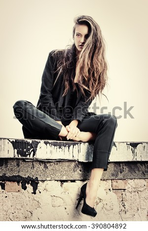 Fashion lady alluring outdoor over urban background. Fashion style photo.  - stock photo