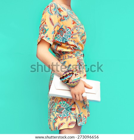 Fashion Lady. Beach style. Clothing for vacations. Dress with stylish design - stock photo
