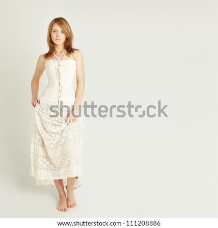 Fashion lady on background - stock photo