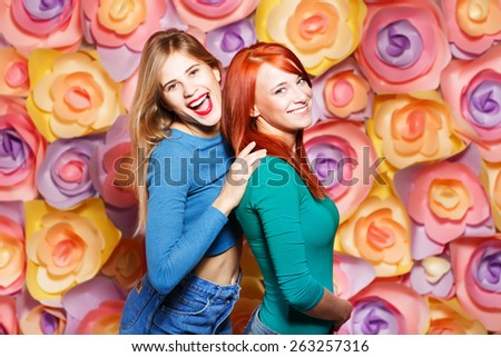 fashion lifestyle close up portrait of two young hipster girls best friends - stock photo