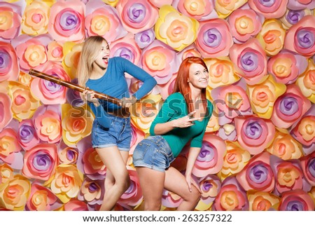 fashion lifestyle portrait of two young hipster girls best friends - stock photo