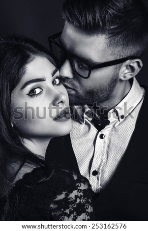 fashion man and woman love couple portrait. vogue style vintage photo. Classic wear elegance. - stock photo