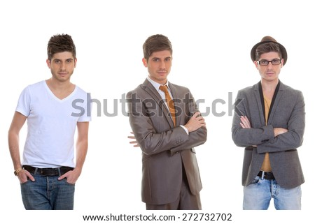 fashion man, different mens styles, outfits, clothes. - stock photo