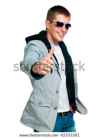 fashion man in sunglasses on white background - stock photo