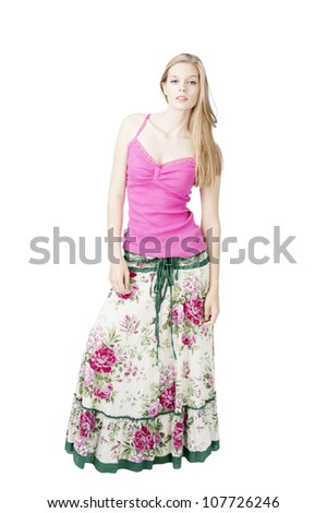 fashion model at white background posing , test model shot - stock photo