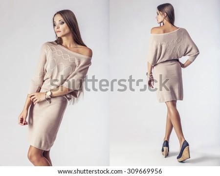 Fashion model beautiful woman Studio photography. Fashion, beauty, sexy, makeup, clothing - stock photo