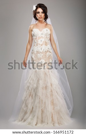 Fashion Model Classy Bride in Long Wedding Dress and Veil - stock photo