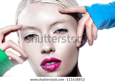 Fashion model close-up portrait, sexy girl look at camera whith red lips , touching head - stock photo