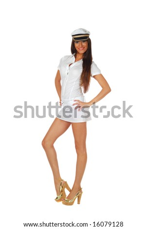 Fashion model dressed in a female sailor uniform, isolated on white