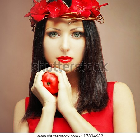 Fashion model - face of beautiful woman - stock photo