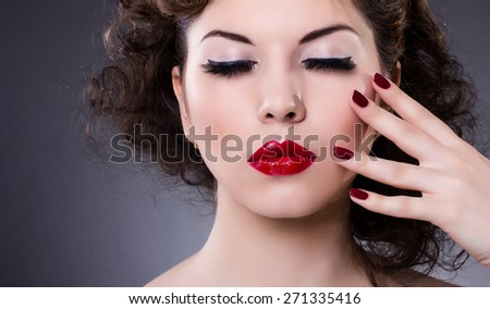 Fashion Model Girl portrait. Red Sexy Lips and Nails closeup. Manicure and Makeup. Make up concept. Beauty woman face - stock photo