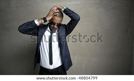 Fashion model has disturbance in his thoughts - stock photo