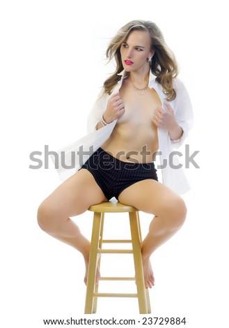 Fashion Model in a Tuxedo Shirt and Sexy Shorts - stock photo