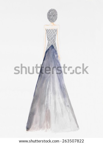 fashion model in formalwear and black net veil covering her face. watercolor illustration - stock photo