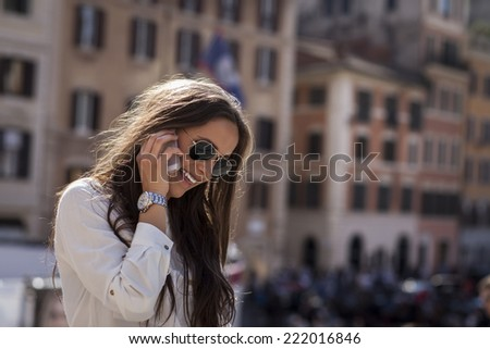 Fashion model in hispanic stairs. Rome, Italy - stock photo